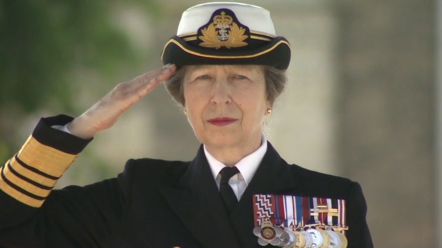 Princess Anne taking Armed Forces Day salute in Salisbury