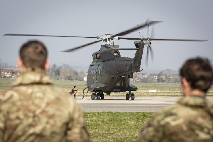 A Puma helicopter from RAF Benson prepares to fly to Kinloss Barracks as part of a coronavirus task force (Picture: MOD).