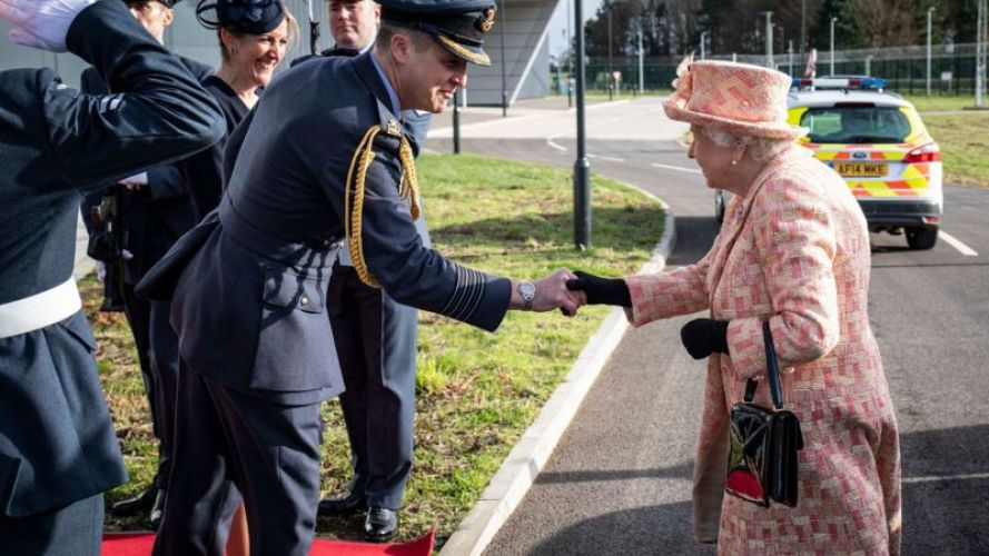 The Queen shakes hands with Group Captain Jim Beck during a visit to RAF Marham in February 2020 (Picture: MOD).
