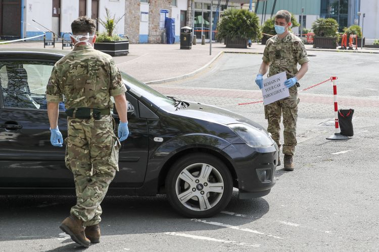 Royal Marines from 42 Commando at Torquay Coach Station conduct COVID19 Coronavirus testing pic 2 270420 CREDIT MOD