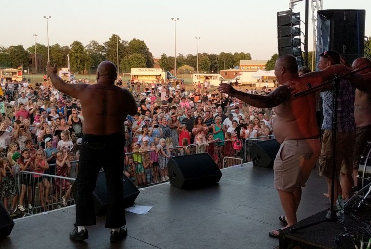 Stavros Flatley on stage at RAF Marham's Friends & Families Day Concert 2018