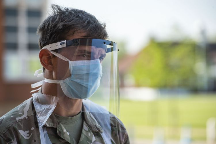 Soldier from Grenadier Guards at Dulwich coronavirus mobile testing unit