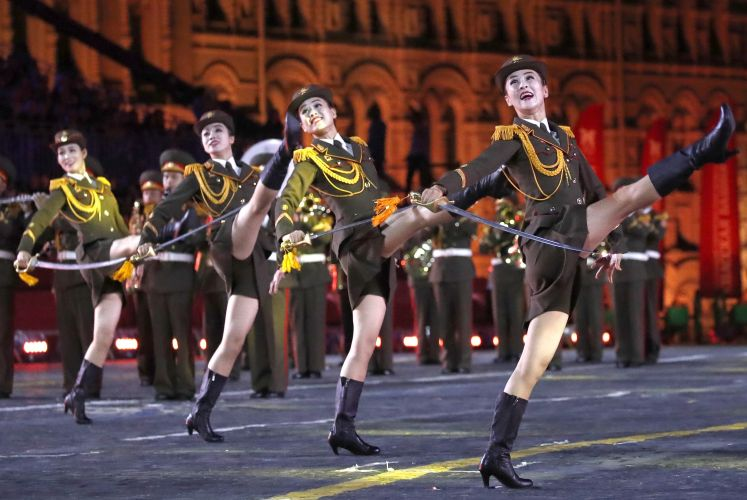 The Military Band of the North Korean People's Army at Spasskaya Tower Festival 2019, Moscow (Picture: PA).