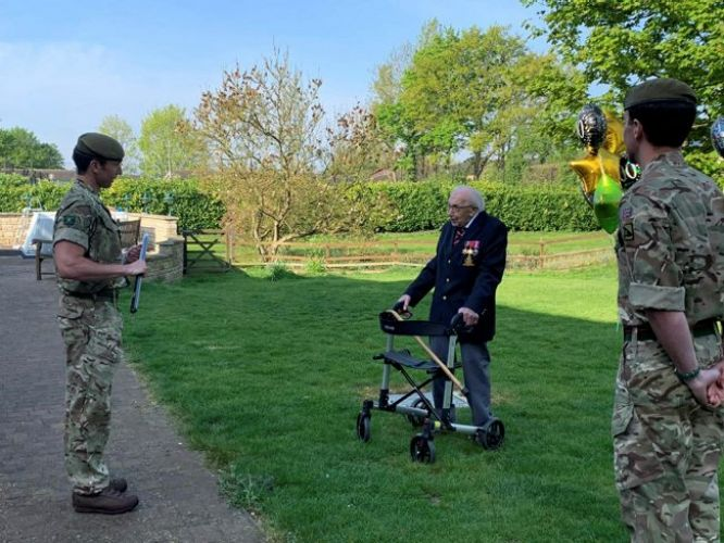 Veteran 1st Battalion The Yorkshire Regiment joined veteran Captain Tom Moore as he completes fundraising walk