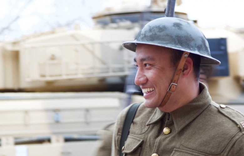 #Vimy100: A Gurkha soldier dressed in an authentic First World War uniform