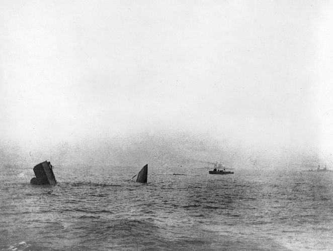 The wreck of HMS Invincible on 31 May 1916.
