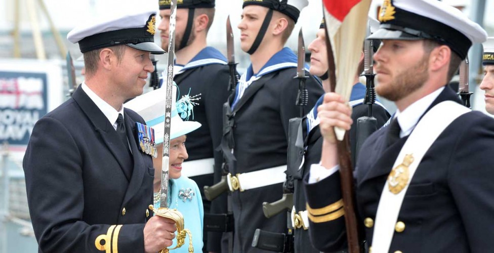 On arrival at Portsmouth Naval Base Her Majesty inspected a guard of honour comprising 34 members of HMS Lancaster's 170 crew before attending a shoreside reception for sailors and their families.