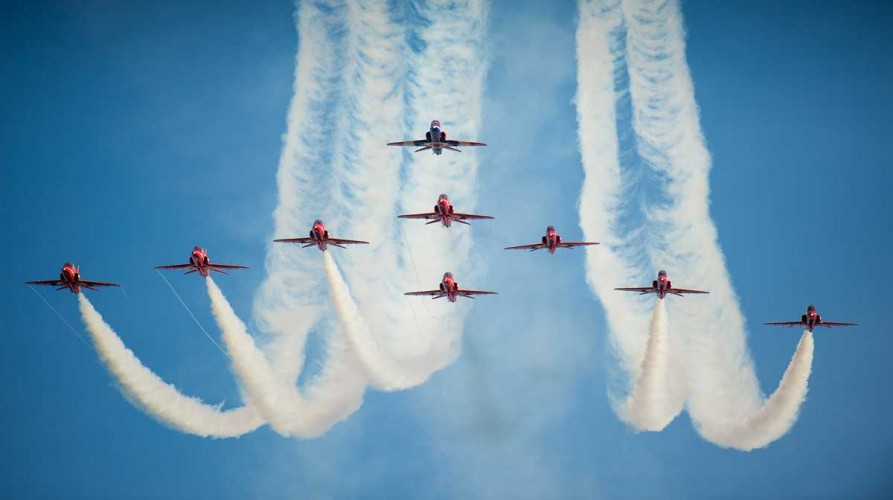 "The Royal Air Force Aerobatic Team ""The Red Arrows"" perform with 9 Hawk aircraft for the 1st time since the tragic losses of 2011. They flew a practice display at RAF Cranwell on 28 February 2013, signalling their intent to return to the classic 9 aircraft formation for the 2013 aircraft display season.