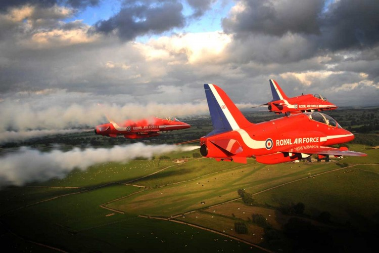 The Red Arrows are pictured flying over Scotland.
