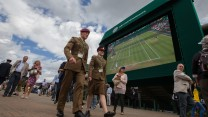 Privates O'Brien and Richards walk to Centre Court