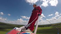 Army Veteran Carol Cooke goes wing walking CREDIT BFBS