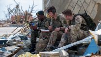 British troops from the Humanitarian and Disaster Relief team from RFA Mounts Bay provide assistance in Great Abaco, Bahamas, after Hurricane Dorian CREDIT MOD 040919