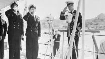 Duke of Edinburgh Prince Philip is saluted on board HMS Magpie in Malta in 1952