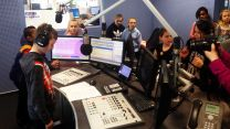 Haig School student records his radio advert at BFBS as part of a school project