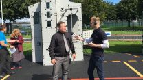 Adam Powney interviewing General Manager, Marc Farrance on the playground