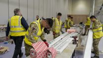 Members of the Queen's Gurkha Engineer Regiment help with construction work at the ExCel Centre (Picture: MOD).