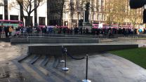 Members of the public gather for Armistice Day commemorations in Belfast.