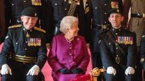 Her Majesty smiles as the Royal Tank Regiment celebrates its new standard in 2018 (Picture: PA).