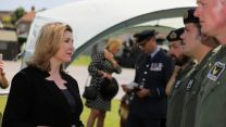 Penny Mordaunt meeting personnel during Armed Forces Day in Salisbury