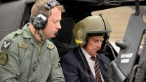 Prince Philip takes the controls in the cockpit of an Apache Attack helicopter, October 2014 (Picture: Crown Copyright).