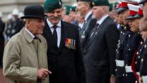 Prince Philip meeting Royal Marines cadets during his final public engagement