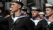 Royal Navy personnel parading during Salisbury Armed Forces Day