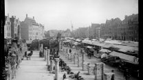 photo showing a market in the town of Ypres after World War 1