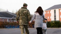 Army Families Federation: British soldier walks with his family