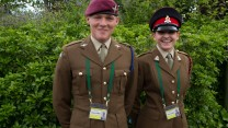 Private Neon O'Brien, 21, British Army, 2nd Battalion, The Parachute Regiment and Kerry Richards, 25, British Army, Adjutant General Corps (SPS) before taking their posts at Centre Court, Wimbledon