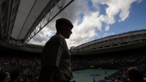 Private O'Brien on duty in his gangway on Centre Court