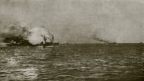 HMS Invincible being destroyed at the Battle of Jutland.