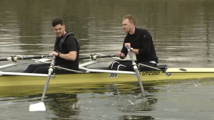 Rowing Dangerously Jordan Wylie with double Olympic Gold Rowing champion Alex Gregory 040319 BFBS