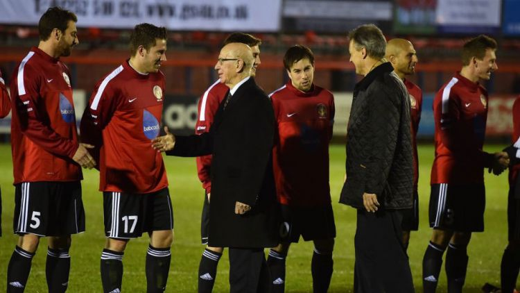 Games Of Remembrance Sir Bobby Charlton shakes hands with the British Army Football Team Crown Copyright