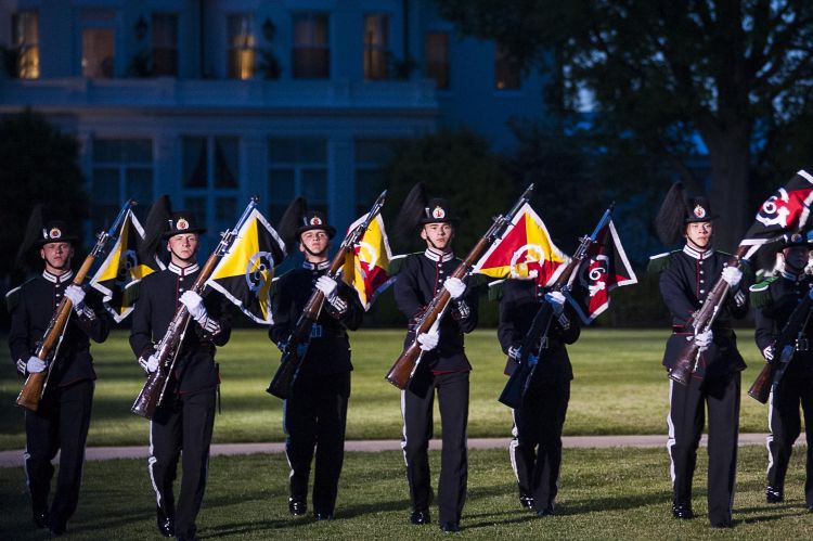 Members of the Band and Drill Team from His Majesty the King's Guard, Norway