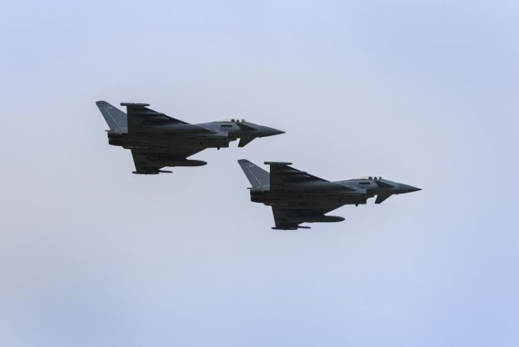 flypast of two Royal Air Force Eurofighter Typhoon jets