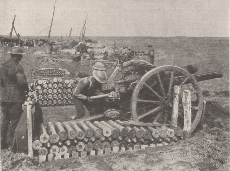 14th Battery of Australian Field Artillery, 5th Field Artillery Brigade, 2nd Division, Ypres Sector loading 18 pounder field gun