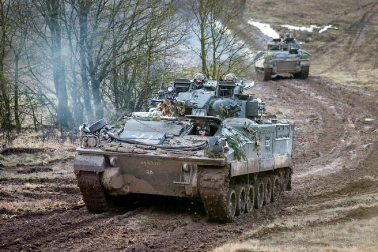 1PWRR soldiers in Warrior Infantry fighting vehicles during NATO Exericse Allied Spirit 8