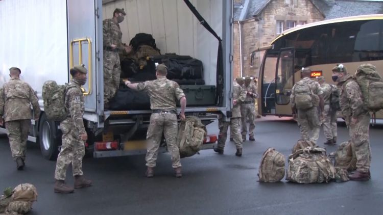 2 SCOTS load bergens ahead of going to RAF Wittering for quarantine before deploying on Op Toral in Afghanistan 131020 CREDIT BFBS