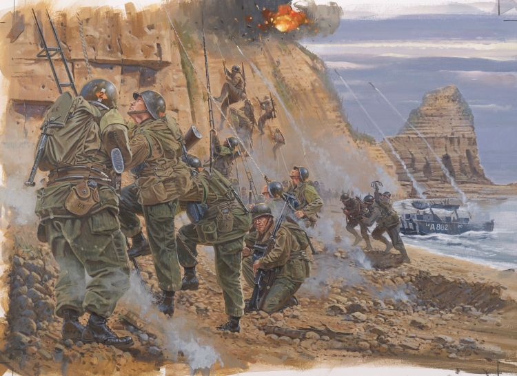 2nd Rangers scaling the cliffs on the western side of Pointe-du-Hoc