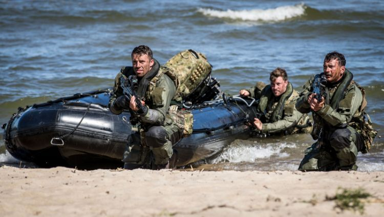 Royal Marines attached to HMS Albion & HMS Kent take part in a simulated beach landing at Salmistu, Estonia during a Distinguished Visitors (DV) Day demonstration as part of Baltic Protector.