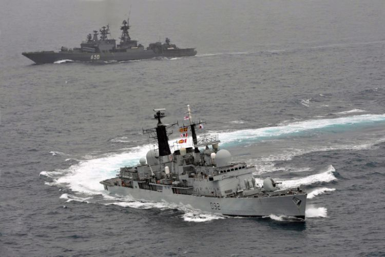 HMS Liverpool escorts Russian ship Admiral Chabanenko. Crown Copyright