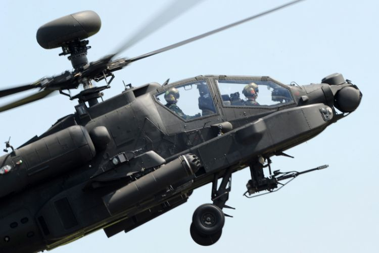 Attack helicopter display team performs some skills
