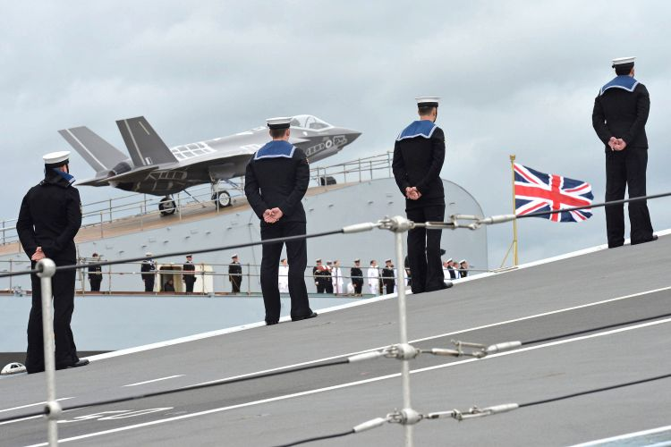Anonymous Sailors Onboard HMS Queen Elizabeth with F35 In Background