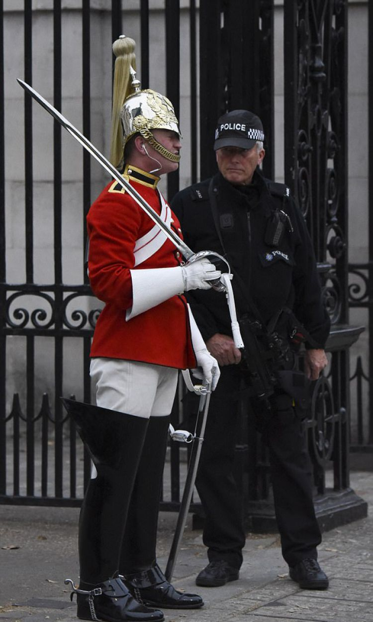 Soldier Wearing Headphones On Horse Guards Parade