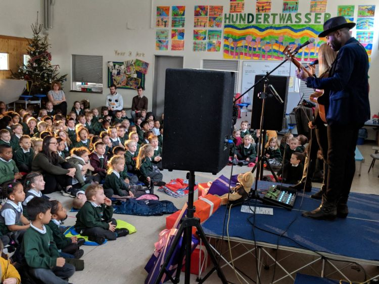 Kevin Davy White and Riva perform for CSE at Attenborough School, Germany