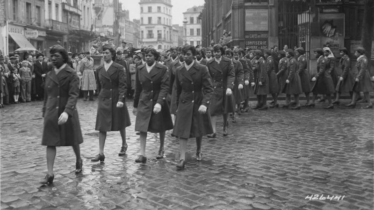 6888th Central Postal Directory Battalion Parade Ceremony To Honour Joan d'Arc at the marketplace where she was burned at the stake CREDIT USA National Archives and Records Administration