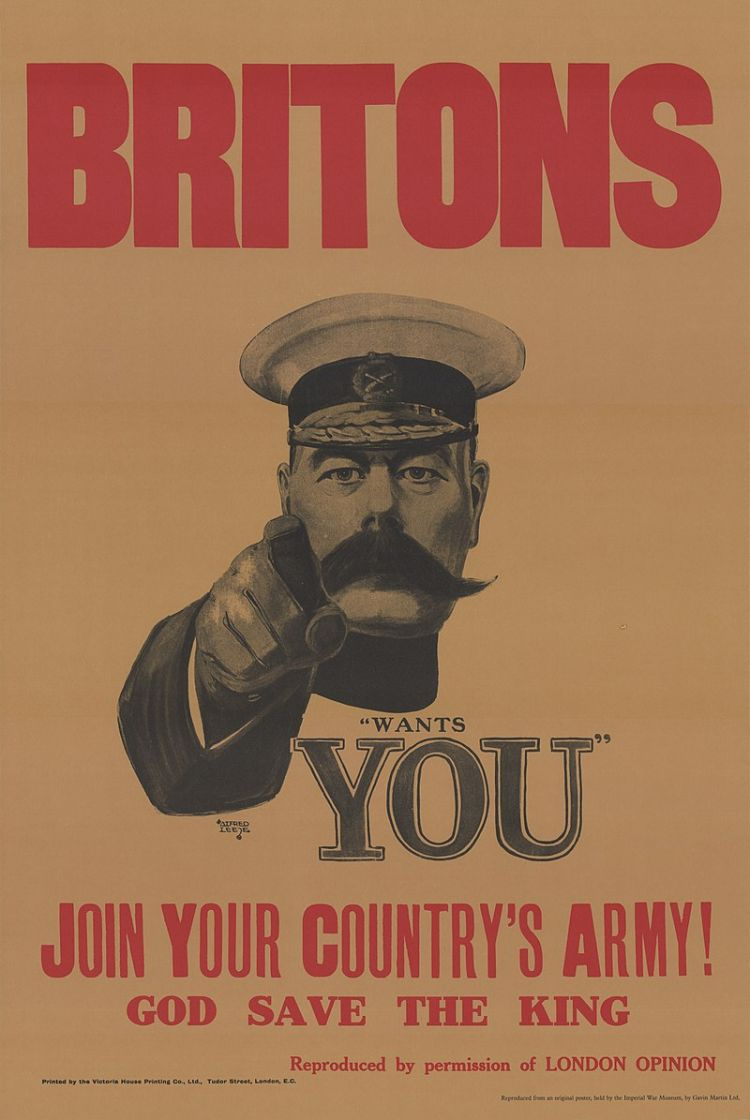 Kitchener on the iconic World War 1 recruiting poster (image: Eybl, Plakatmuseum Wien)