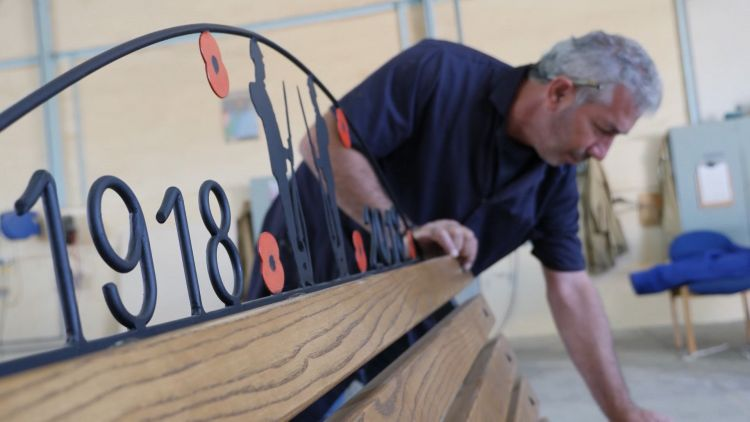 A Remembrance Bench was crafted at the RAF Akrotiri workshop.