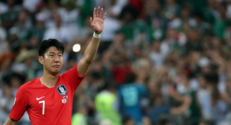 A teary eyed Son after South Korea were knocked out in the group stage at the World Cup (Picture: PA).