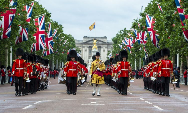 the Band of The Grenadier Guards, marching down the Mall at the start of The Queen's Birthday Parade in London.